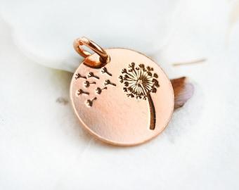 Rose Gold Dandelion charm, Golden flower, dandelion pendant, 24K gold plating over sterling 925 silver, 14mm - 1pc - F498