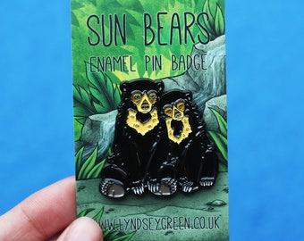 Sun Bears Illustration Soft Enamel Pin Badge