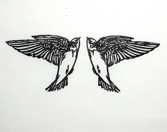 "Tree Swallows, handmade woodblock print, 5""x7"""