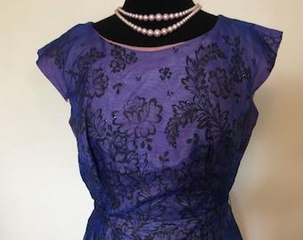 Vintage Purple Party Dress - M