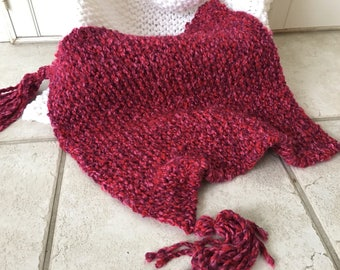 Red and Pink Hand Knit Mini Photography Prop Blanket