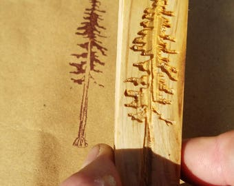 Redwood Tree Laser Engraved Rubber Stamp