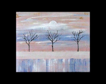 Original Art for Sale,Metal Artwork, Modern,Abstract Tree Art,Copper Painting,Landscape, Karina Keri-Matuszak, Winter Trees, snow, ice