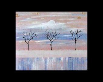 Original Art for Sale,Metal Artwork, Modern,Abstract Tree Art,Copper Painting,Landscape, Karina Keri-Matuszak, Winter Trees, snow, ice