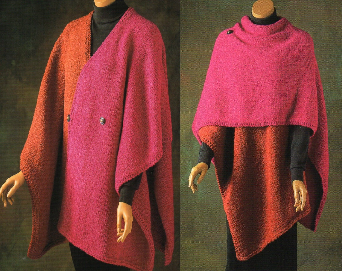 Color Block Ruana Cape Poncho Knitting Pattern Womens Poncho Cape V ...