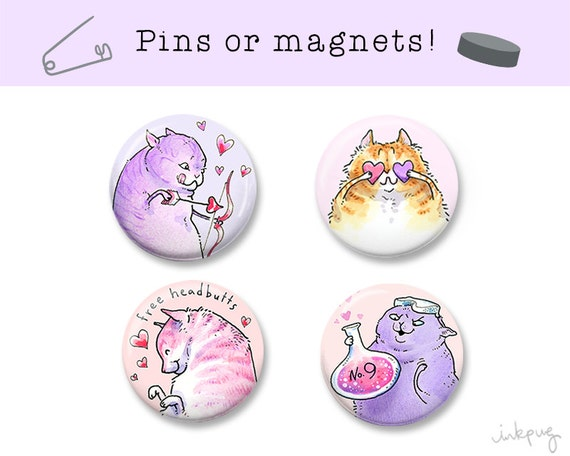 Valentine Love Cat Pins... or Magnets