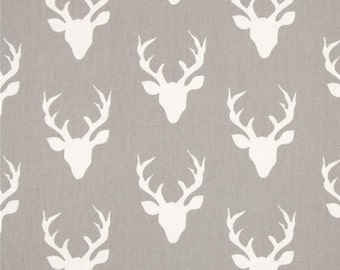 Buck Forest Mist, Deer Head Fabric, By the Yard, Cotton Fabric, Woodland Fabric, By the Half Yard, Quarter Yard, Gray White Deer Print