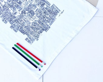 Taipei City Blocks T-shirt, White, 100% Cotton