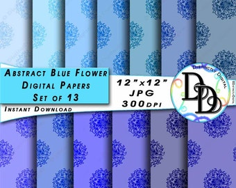 Abstract Flower Digital Papers Printable Scrapbook Paper Clipart Gradient Blues Commercial Use Graphic Clip Art Instant Download File PS0009