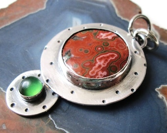 Red and Green Ocean Jasper Hand Stamped Pendant with Green Serpentine in Sterling Silver Necklace Jewelry