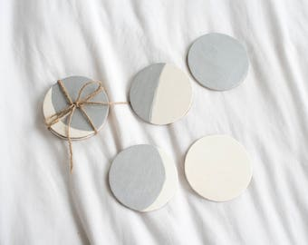 Wooden Moon Phase Coasters - Hand Painted