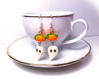 Pumpkin and Ghost earrings//Halloween//gift for her//original idea//theme party