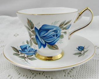 Windsor Tea Cup and Saucer with Blue Rose, Vintage English Bone China