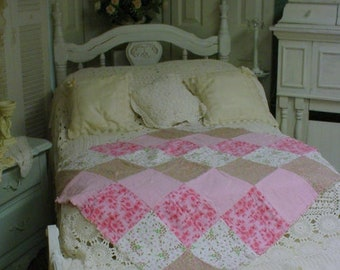 Quilted Throw Florals Lap Blanket Bedding Blanket Country Chic