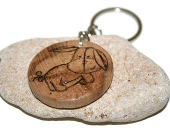Eeyore keychain, wood keychain, Personalized, custom gift, Winnie the pooh character, Wood Burned , Unique gift, Initials and Date keychain