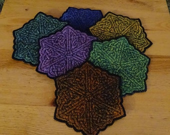 Celtic Embroidered Coasters set of six