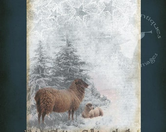 Vintage Christmas Sheep in Snow Large Printable Collage Digital Download