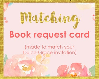 Matching book request card, book instead of card, Add-on made to match any of my invites, Baby Shower printables, Baby shower insert card