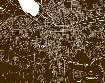 Syracuse Street Map Print New York City Street Map Poster Minimalist Home Decor Wall Art 7040L