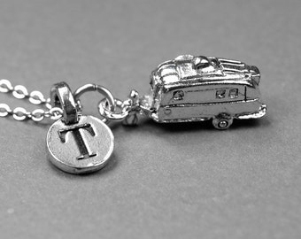 Trailer Necklace, RV necklace, Camper Necklace, silver plated pewter, initial necklace, initial jewelry, personalized gift, monogram initial