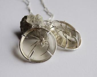 Real Black Widow Necklace - Sterling Silver spider - OOAK - Handmade Man eater Sample Sale