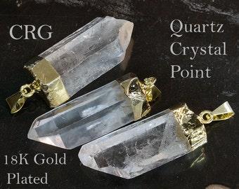 Gold Plated Quartz Crystal Point Pendant (PT17BT) qty-1