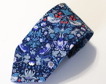 Mens Tie - Blue and Red Neck Tie - Liberty Tie - Liberty of London William Morris Strawberry Thief - Paisley Tie - Floral Tie - Christmas