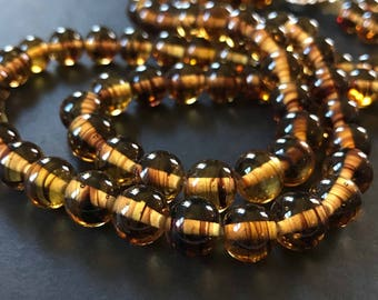 Striped Amber Glass Bead Double Strand Necklace