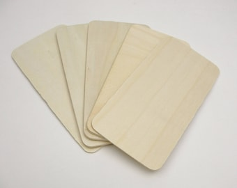 """Wooden rectangles 5 7/16"""" x 2 3/4"""" set of 5"""