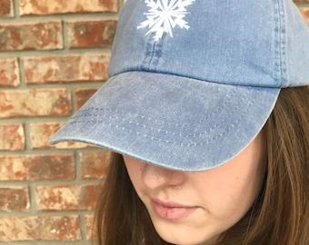 Frozen inspired Elsa's snowflake Baseball, dad hat