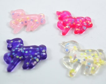 Glitter Unicorns Stars Plastic Kawaii Decoden Kitsch Flatbacks Cabochons - Purple Pink Clear Light Pink  RU030517
