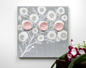 Gray and Pink Nursery Art, Canvas Flower Painting for Baby Girl - Small 10x10
