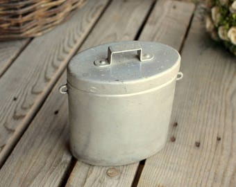 Small French Canteen - Aluminium Lunch Box - Antique Gamelle with Handle and Hook - Made in France - French Rustic Decor