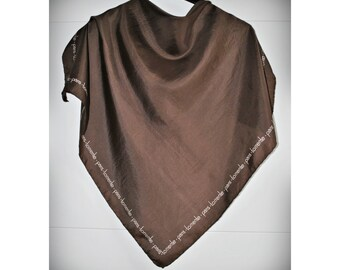 Vintage Square Silk Scarf - Torrente Paris - Brown Bandana Pocket square small Silk Scarf