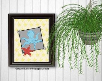 Octopus and Starfish, Beach Bathroom, Ocean Theme, Beach House, Kids Bathroom Art, Beach Decor, Kids Bathroom Sign, Beach Bathroom Art