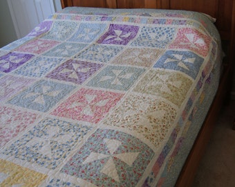 Pinwheels in Squares – DOUBLE or QUEEN QUILT – Pastels