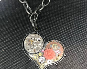 Steampunk heart necklace, industrial necklace, gear necklace, assemblage necklace, repurposed watch parts, steampunk jewelry