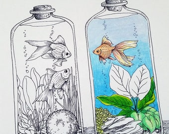 Goldfish Coloring Page #3 by Tempest Studios, Printable Adult Kids Fish Bowl Complicated