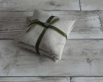 Sale! Olive Green Organza Ribbon Lavender Pillows, Linen, Shabby Chic, Drawer Freshener, Handmade, Gift, Present, Lavender, Free Postage