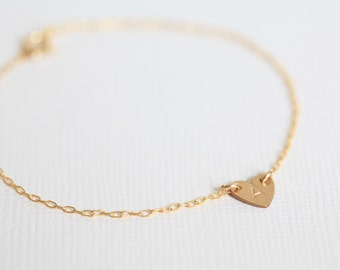 bridesmaid gift, bridesmaid bracelet, heart bracelet, initial bracelet, dainty bracelet - gold filled