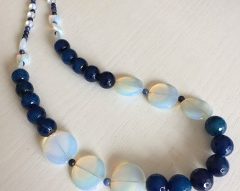 Blue and Opal Necklace