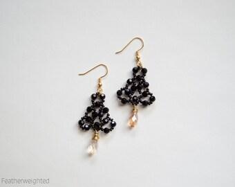 Lightweight black crystal beaded chandelier earrings   handmade jewelry for charity.