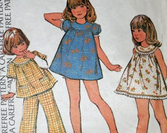 "Vintage, 1970s, Sewing Pattern, McCall's 3646, Childs', Dress or Top and Pants,  Size 6, Breast 25"", 1970s Pattern, OLD2NEWMEMORIES"