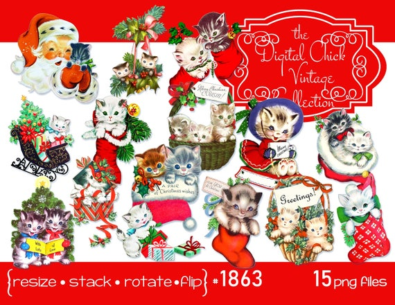 Digital Clipart Instant Download Vintage Christmas Images Kitten Kitty Cat Cats Stocking Sled Printable PNG Files 1863 From TheDigitalChick On