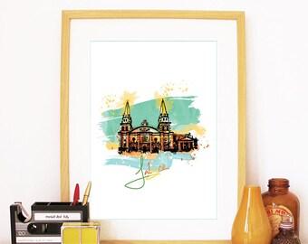Jalisco Print, Jalisco Skyline, Jalisco kunst, Jalisco Poster, Jalisco aquarel, Jalisco kunst, Jalisco kaart, Jalisco Wall Art kunst, Mexico