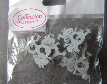 Bag of 12 grey wood frogs with a universal sign of man and woman