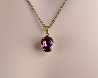 Amethyst Crystal Necklace - Purple Swarovski Rhinestone - Art Nouveau Jewelry - Vintage Style Bronze Oval Crystal Necklace for Her N1143