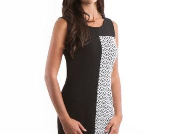 Brooklynn Black and White Sleeveless Dress