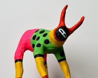 JamJam! Papier Mache Goat Sculpture Multicolour