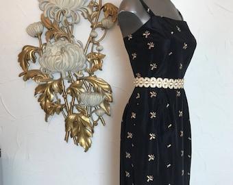 1950s dress wiggle dress 50s dress black dress size x small Vintage dress embroidered dress hourglass dress satin dress